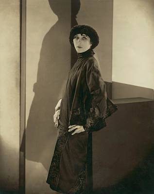Cloche Hat Photograph - Madame Lassen Wearing Callot Coat by Edward Steichen