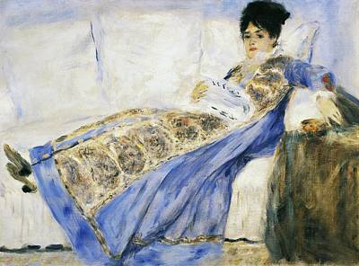 Lips Painting - Madame Monet Reading by Pierre-Auguste Renoir