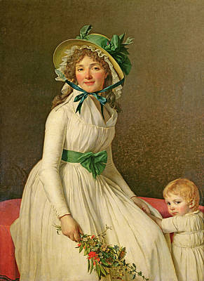 Of Artist Photograph - Madame Pierre Seriziat Nee Emilie Pecoul With Her Son, Emile B.1793 1795 Oil On Panel by Jacques Louis David