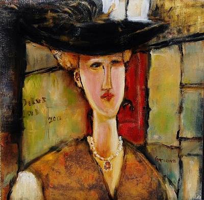 Madame Pompador As A Tribute To Modigliani Art Print by Jean Cormier