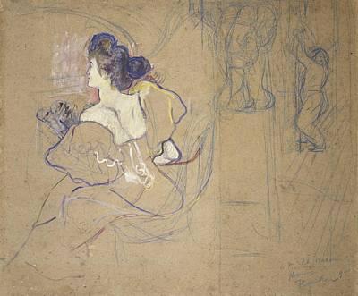 Cardboard Drawing - Madame Thad�e Natanson Misia Godebska by Henri de Toulouse-Lautrec