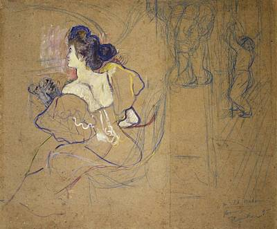 Madame Thadee Natanson At The Theater Art Print by Toulouse-Lautrec