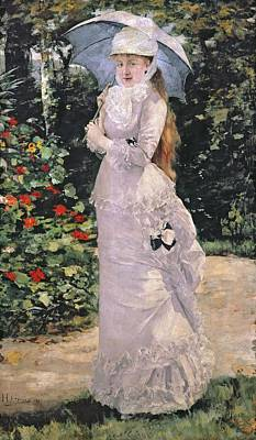 Full Skirt Painting - Madame Valtesse De La Bigne by Henri Gervex