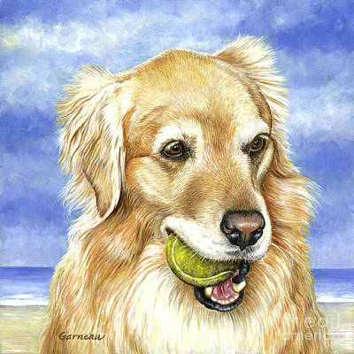 Dogs On Beach Painting - Maddie by Catherine Garneau