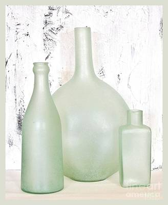 Made In India Sea Glass Bottles Art Print by Marsha Heiken