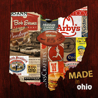 Vintage Map Mixed Media - Made In Ohio Products Vintage Map On Wood by Design Turnpike