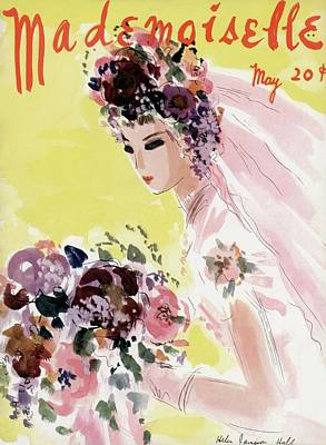 Wedding Dress Photograph - Mademoiselle Cover Featuring A Bride by Helen Jameson Hall