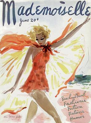 Watercolor Photograph - Mademoiselle Cover Featuring A Model At The Beach by Helen Jameson Hall