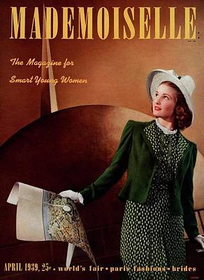 Photograph - Mademoiselle Cover Featuring A Model In A Green by Paul D'Ome