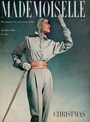 Photograph - Mademoiselle Cover Featuring A Model In A Ski by Gene Fenn