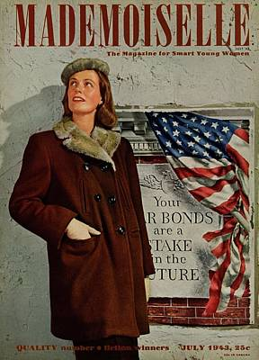 War Bonds Photograph - Mademoiselle Cover Featuring A Model In Front by George Karger