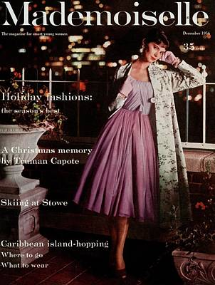 Photograph - Mademoiselle Cover Featuring A Model On A Balcony by Mark Shaw