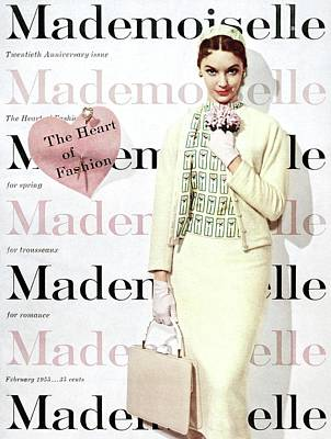 Brown Earrings Photograph - Mademoiselle Cover Featuring A Model Wearing by George Barkentin