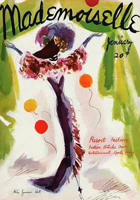 Curtains Photograph - Mademoiselle Cover Featuring A Model Wearing by Helen Jameson Hall