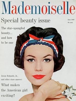 Photograph - Mademoiselle Cover Featuring A Model Wearing by Mark Shaw