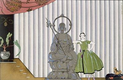 Buddha Statue Painting - Mademoiselle Spinelly Chez Elle by Georges Barbier