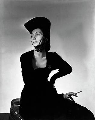 Fashion Model Photograph - Mademoiselle Valentina Wearing A Crusader's Hat by Horst P. Horst