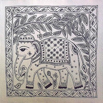 Madhubani Painting - Madhubani Elephant Black White by Aboli Salunkhe