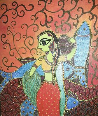 Indian Folk Art Painting - Madhubani - Mermaid by Remya Damodaran