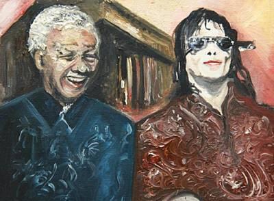 Madiba And Michael Jackson Original by Grant Netherlands