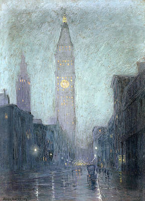 Rain Drawing - Madison Avenue At Twilight by Lowell Birge Harrison