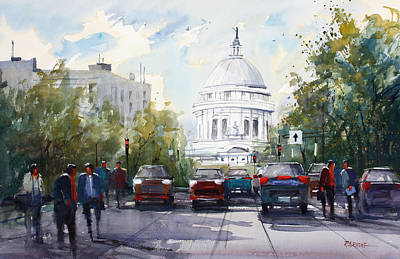 Capitol Building Painting - Madison - Capitol by Ryan Radke