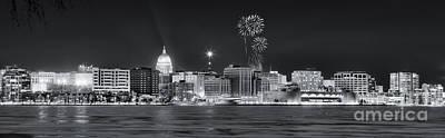 Madison - Wisconsin -  New Years Eve Panorama Black And White Art Print