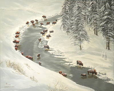 Painting - Madison River Buffalo by Sharon Tabor