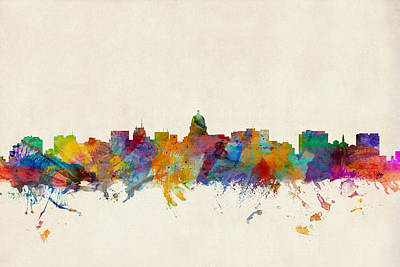Wisconsin Digital Art - Madison Wisconsin Skyline by Michael Tompsett