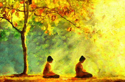 Religious Painting - Meditation by George Rossidis