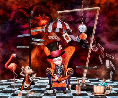 Madness In The Hatter's Realm Art Print by Putterhug  Studio