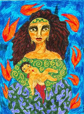 African American. Folk Art Painting - Madonna 9 by Stacey Torres