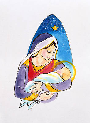 Christianity Drawing - Madonna And Child by Diane Matthes