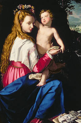 Child Jesus Painting - Madonna And Child by Alessandro Allori