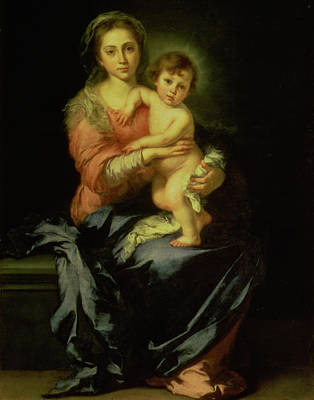 Jesus Art Painting - Madonna And Child by Bartolome Esteban Murillo