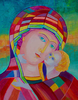 Mother Mary Nursing The Infant Jesus Orthodox Icon. Madonna With Child Painting Print by Magdalena Walulik