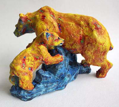 Clay Ceramic Sculpture - Madonna And Child by Derrick Higgins