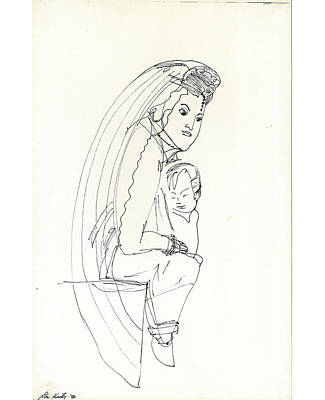 Art Print featuring the drawing Madonna And Child by Don Koester