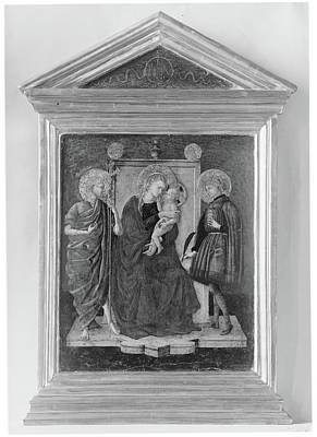 Gold Metal Painting - Madonna And Child Enthroned With Saint by Italian