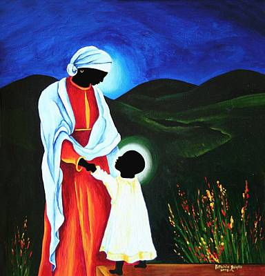 Haitian Painting - Madonna And Child  First Steps by Patricia Brintle