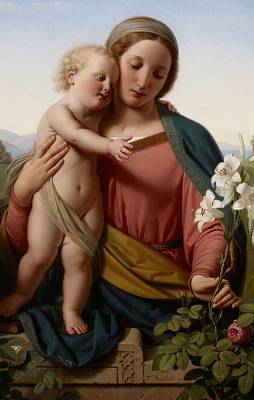 Garden Painting - Madonna And Child by Franz Ittenbach