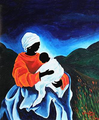 Haitian Painting - Madonna And Child  Lullaby by Patricia Brintle
