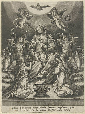 Carnation Drawing - Madonna And Child Surrounded By Angels, Samuel Van by Samuel Van Hoogstraten
