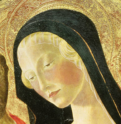 Tempera Painting - Detail Of The Madonna by Neroccio di Landi