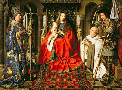 Clergy Painting - Madonna And Child With Canon Joris Van Der Paele by Jna Van Eyck
