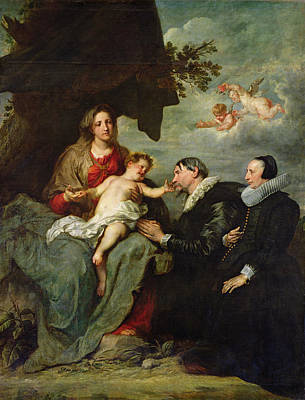 Madonna And Child With Donors Oil On Canvas Print by Sir Anthony van Dyck