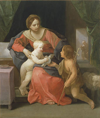 St Mary Painting - Madonna And Child With Saint John The Baptist by Guido Reni