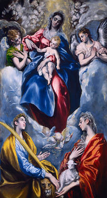 Mary And Jesus Painting - Madonna And Child With Saint Martina And Saint Agnes by  El Greco Domenico Theotocopuli