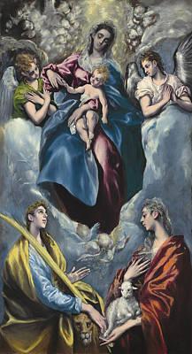 Madonna And Child With Saint Martina And Saint Agnes Art Print