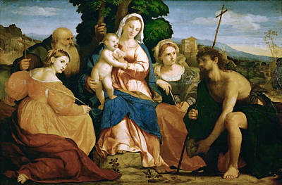 Palma Vecchio Painting - Madonna And Child With St Catherine And St Celestine And John The Baptist And St Barbara by Palma Vecchio